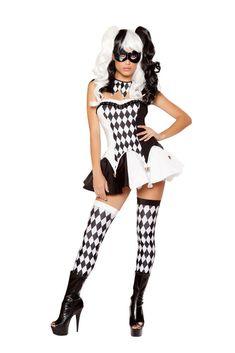 acfe870c5918 Roma Costume 4 Piece Devious Jester Costume Black White - Small
