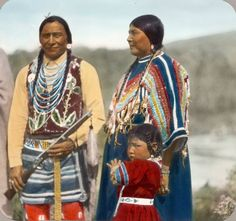 Blackfeet (Pikuni) family. Montana. Early 1900s. Glass lantern slide by Walter McClintock.