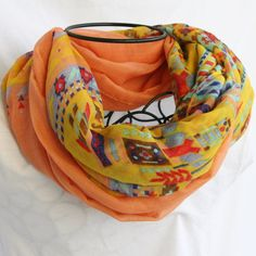 Peach and Yellow Aztec Print Color Block Infinity by elgies, $18.00