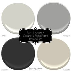 Modern gray farmhouse, country style paint palette with Sherwin Williams paint colours (Collonade Gray, Dorian Gray, Natural Tan, Tricorn Black) Rustic Paint Colors, Farmhouse Paint Colors, Exterior Paint Colors For House, Paint Colors For Home, Exterior Colors, Wall Colors, Farmhouse Decor, Paint Colours, Farmhouse Style