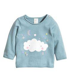 Pulóver z jemného úpletu - tmavomodrá/oblak - DETI Fashion Kids, Baby Girl Fashion, Baby Kids Wear, Kids Party Wear, Kids Nightwear, Kid Styles, Baby Sweaters, Kind Mode, Boy Outfits