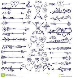 Illustration about Hand drawn vintage arrows, feathers, and ribbons with lettering. Illustration of decorative, feathers, hand - 54629576 Hamsa Tattoo, Orca Tattoo, Diy Tattoo, Doodle Arrows, Doodle Drawings, Doodle Art, Doodle Frames, Arrow Tattoo, Hand Drawn Arrows