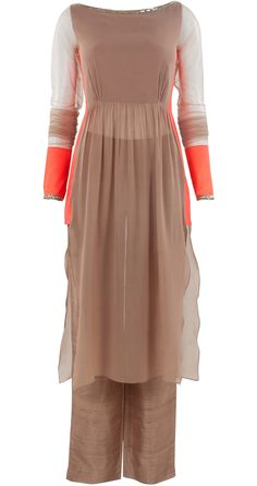 Oyster coloured georgette tunic set with gathers available only at Pernia's Pop-Up Shop.