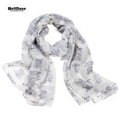 ... bufanda de las mujeres patrón de búho de luz de impresión de Color  Simple y elegante estilo Animal de impresión bufanda para mujer n2591 de scarf  women ... 312a5a605ef5