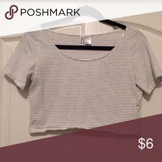 H&M black and white striped crop top Size M. $6. worn once H&M Tops Crop Tops