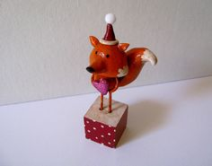 Fredrick the Fox  Christmas Paperclay Art by PigAndPumpkin on Etsy