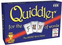 Quiddler 8+ create words form cards in hand, discarding and reedrawing cards until you do. each round deal one more card than previously