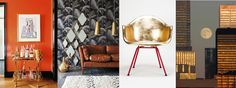 Eclectic interior with golden decorations #gold #orange #interior #colour #eclectic