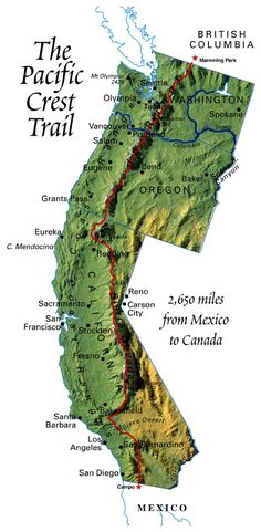 The Pacific Crest Trail (PCT) is the Appalachian Trail's more isolated, lonelier western counterpart. For almost 2700 miles the PCT runs from Mexico to Canada. It follows the crests of the mountain ranges in California, Oregon, and Washington, crossing 27 National Forests and 7 National Parks. At the border between Sequoia National Park and Yosemite National Park, the PCT reaches its highest elevation, 13,200 feet.