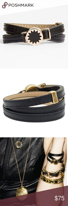 "house of harlow // leather sunburst wrap bracelet NWT House of Harlow 1960 black leather mini sunburst wrap bracelet. Shipped in HoH jewelry pouch.   20 3/4"" length; 5/8"" pendant width. House of Harlow 1960 Jewelry Bracelets"