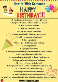 Birthday Wishes: Best Happy Birthday Wishes to Friends & Others! - ESL Forums Birthday Wishes: Best Happy Birthday Wishes to Friends & Others! English Sentences, English Vocabulary Words, Learn English Words, English Phrases, English Idioms, English Lessons, English Learning Spoken, Teaching English Grammar, English Writing Skills