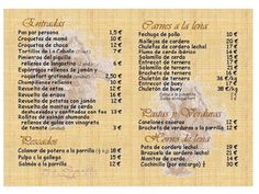 Menus in Spanish for class activities