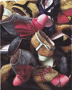 A pile of glittery, gorgeous Miu Miu heels (from Fall 2011). Currently swooning!