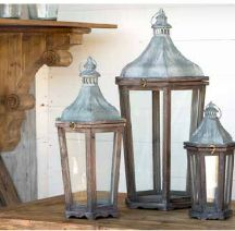 Wood & Galvanized Metal Lanterns by Park Hill Collection, Set of 3 Metal Lanterns, Candle Lanterns, Park Hill Collection, Silver Pillows, Tin Candles, Galvanized Metal, Fireplace Mantle, Fairy Lights, A5