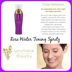 Skin care toner makeup Younique Royalty Rose Water Toning Spritz! So many uses in one bottle! To name a few...its a toner, hydrates, reduces dark circles, reduces redness, anti inflammatory, makeup setter, gentle perfume, reduces puffiness, aftershave, hair shine, sunburn relief, the possibilities are ENDLESS! sarahandbrianyounique or comment below