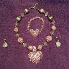 Pink Crystal Heart Jewelry Set Wore this once, and then put it away. Great to add to a nice dress, or casual outfit. Great condition. Jewelry Necklaces