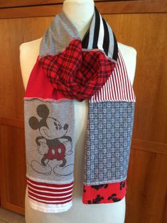 UPCYCLED t-shirt scarf... Mickey Mouse... Disney... red black grey via Etsy