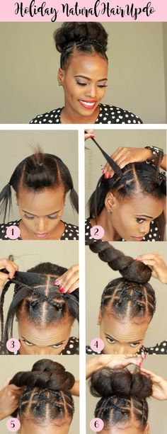 Natural hair updo idea for the 2018 holiday season. Style your hair with this pr… Natural hair updo idea for the 2018 holiday season. Style your hair with this protective style as your holiday hairstyle to attend events. Easy hair updo style for short and Medium Short Hair, Medium Hair Styles, Curly Hair Styles, Black Hair Bun Styles, Medium Curls, Pelo Natural, Natural Hair Updo, Afro Hair Updo, Medium Natural Hair
