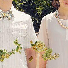 コットンパールとリバティのリボンネックレス[夏白花]