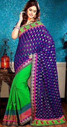 Green & #Blue Banarasi #Silk