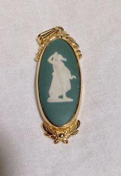 Vintage sage green signed Wedgwood gold filled pendant, romantic