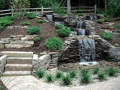 Small Waterfall Pond Landscaping For Backyard Decor Ideas 97 - DecOMG Backyard Water Feature, Ponds Backyard, Backyard Waterfalls, Backyard Ideas, Desert Backyard, Garden Ponds, Koi Ponds, Garden Waterfall, Small Waterfall
