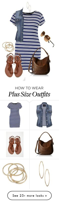 """""""Ootd: Stripey- plus size"""" by gchamama on Polyvore featuring Boohoo, maurices, Forever 21, Frye, ABS by Allen Schwartz, Lydell NYC and Tory Burch"""