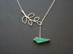 Turquoise bird on white gold leaf branch lariat necklace - blue bird, delicate necklace, birthday gift for mom daughter, mothers day gifts. $28.00, via Etsy.