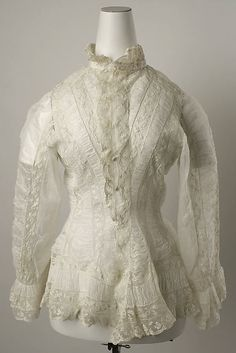 Dressing jacket Date: 1880–81 Culture: American or European Medium: linen, cotton. Front