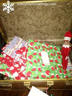 Elf on the Shelf arrives every year in an old suitcase with a letter and wrapped books for the children....