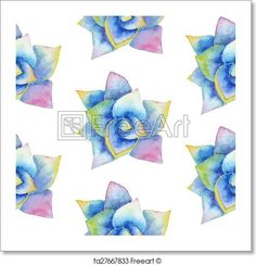Watercolor seamless pattern with succulent - Artwork  - Art Print from FreeArt.com