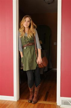 the boots!!  the little green dress and sweater. This is totally something I would wear.