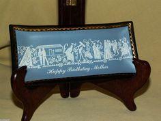 HOUZE ART ASHTRAY PIN DISH HAPPY BIRTHDAY MOTHER MOM TRINKET GOLD TRIM BLUE GRAY
