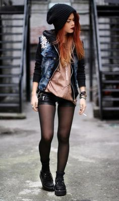 shorts with tights- not sure about that shirt, but overall matches my style