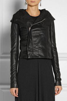 RICK OWENS Hooded leather biker jacket $2,150
