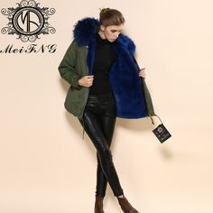 d124c10d581 Stay stylish in unpredictable weather with our celebrity loved Lux Raccoon  Fur Collar Parka Jacket in Blue.