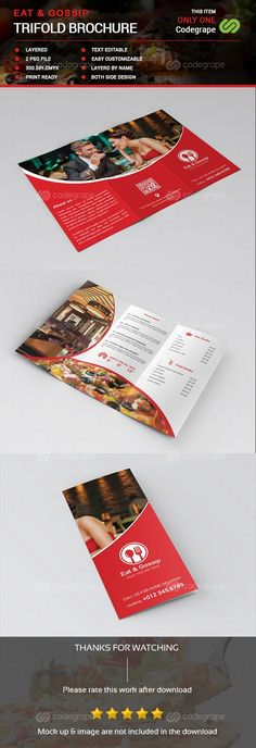 Eat \ Gossip Four Fold Brochure \/ Menu Brochures and Menu - restarunt brochure