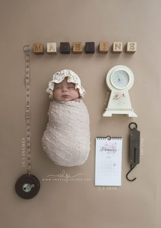 vintage newborn girl info graphic with clock wooden blocks scale and calendar - watertown newborn photographer