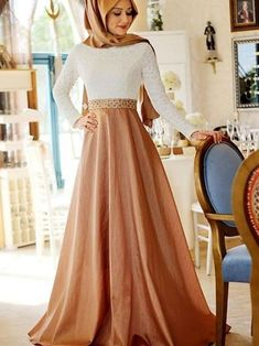 46cc7f88c0e A-Line Long Sleeves Scoop Sweep Brush Train Lace Satin Muslim Prom Dresses