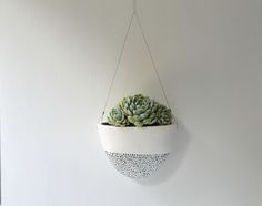 Ceramic Hanging planter with black dash lines This pure white clay has been painted with a satiny white glaze This pot is ready for your own greenery, whether that be a succulent, cactus or whatever you love.To create the textured dashes I have used black/white pigment mixed with a glaze and hand painted them onto the planter.Screws are included for easy hanging : stainless steel wire Size : 200 mm wide x 100 deep x 150mm height