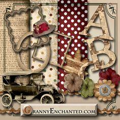 Granny Enchanted's Paper Directory: Free Newsprint Digital Scrapbook Kit 01