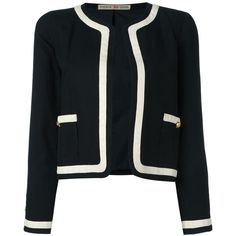 Chanel Vintage contrast stripe jacket ($1,173) ❤ liked on Polyvore featuring outerwear, jackets, blazers, chanel, coats & jackets, black, cotton jacket, pattern jacket, long sleeve jacket and stripe jacket