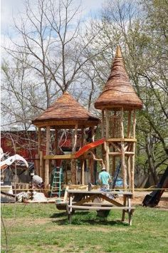 absolutely ADORE this playground made from reclaimed wood. #school #playground #classroom #kidsactivities