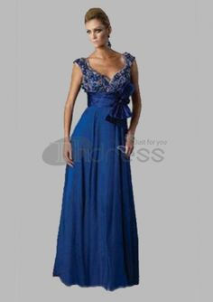 Fantastic A-Line V-neck Floor-Length Chiffon Charmeuse Long Evening Dresses