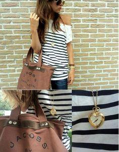 Nautical stripes, heart clock necklace, canvas bag