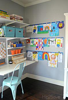 Diy kid's artwork display wall eli's bedroom Kids Art Space, Kids Room Art, Art Wall For Kids, Kids Art Corner, Kids Art Area, Kids Wall Decor, Kids Rooms, Displaying Kids Artwork, Artwork Display