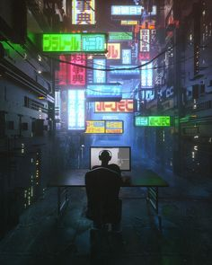 A CGI Master Creates Sci-fi Inspired Artwork That Reflects Today's Society Cyberpunk City, Cyberpunk Aesthetic, Neon Aesthetic, City Iphone Wallpaper, Cool Wallpaper, Iphone Wallpapers, Wallpaper Wallpapers, Cinema 4d, Blade Runner