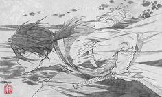 Nanashi, Stanger: Mukou Hadan (Sword of the Stranger), Art by Saito Tsunenori (Character Design and Animation Director, Studio Bones) Manga Drawing, Manga Art, Manga Anime, Anime Art, Reference Manga, Drawing Reference Poses, Sword Of The Stranger, Arte Indie, Poses References