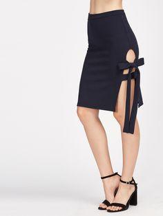 1143deeff68d7 High Split Tie Side Midi Pencil Skirt Navy Elegant Women High Waist Summer  Skirts 2017 Brief Sexy Bow Office Work Skirt
