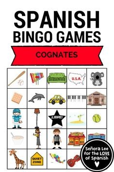 Spanish Bingo! Build fluency with this listening comprehension game to help students identify36 Spanish Cognates. 40 bingo cards and 2 vocabulary lists. #spanishcognates #spanishbingo #spanishgames